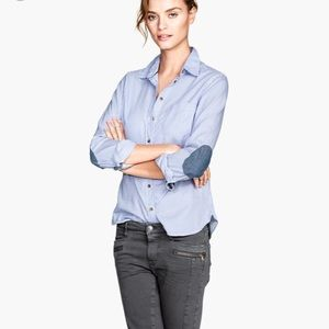 H&M Light Blue Long Sleeve Shirt With Elbow Pads
